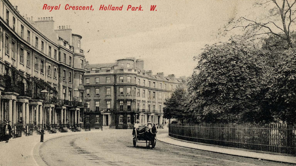 Vintage photograph depicting Royal Crescent London W11